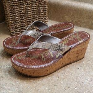 Sam Edelman Romy Gold Faux Snakeskin Thong Sandals